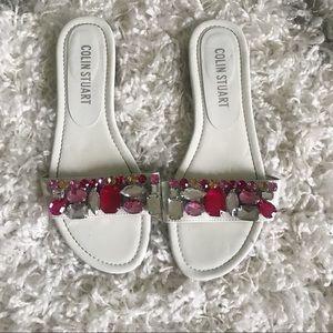 Jeweled slip on sandals